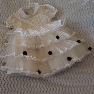 Baby girls ruffled dress/rose embellishments
